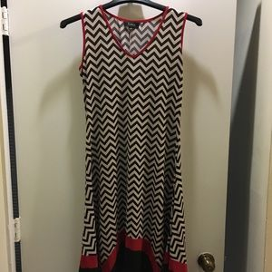 Red white and black dress